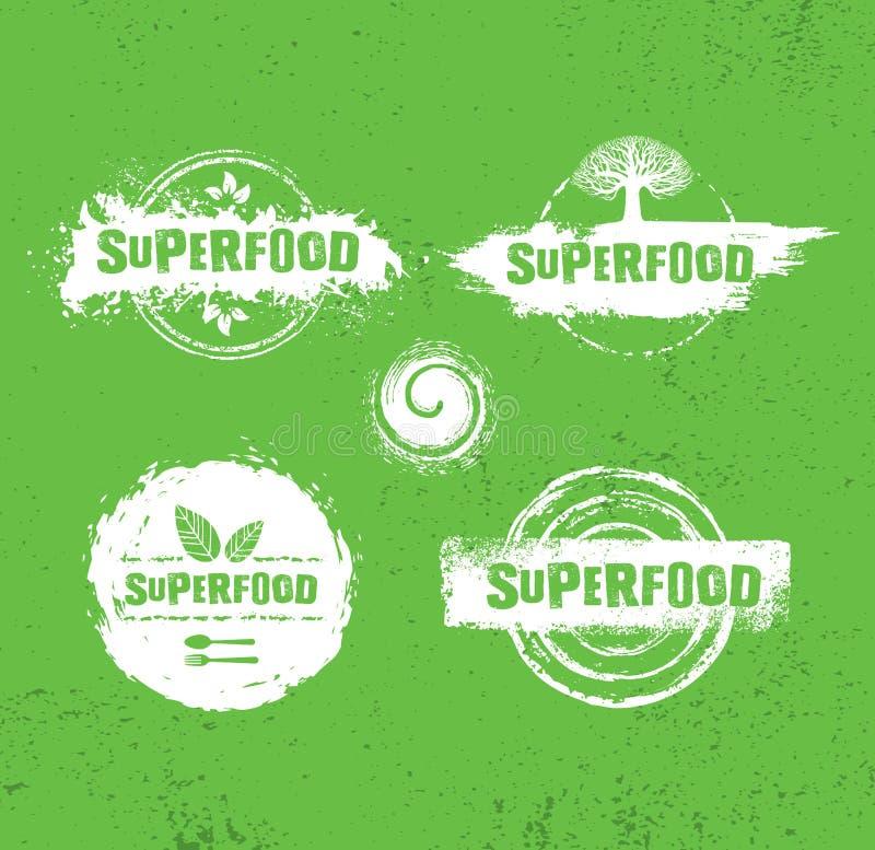Elementos crus orgânicos do projeto do vetor de Superfood Conceito sustentável do alimento local consciente da saúde ilustração royalty free