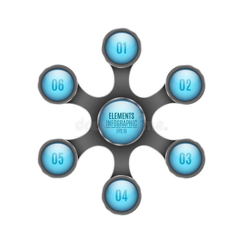 elementos 3d do infographics Círculos azuis com números para seu projeto Etapas ao sucesso Objeto abstrato do metal no estilo do  ilustração do vetor