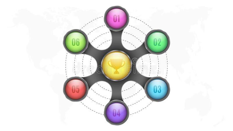 elementos 3d do infographics Os círculos coloridos com números para seu negócio projetam-se Mapa da terra do planeta Metal abstra ilustração stock