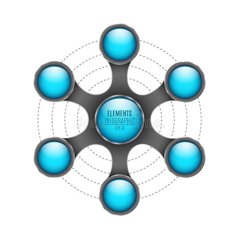 elementos 3d do infographics Os círculos vazios lustrosos azuis para seu negócio projetam-se Objeto abstrato do metal isolado no  ilustração royalty free