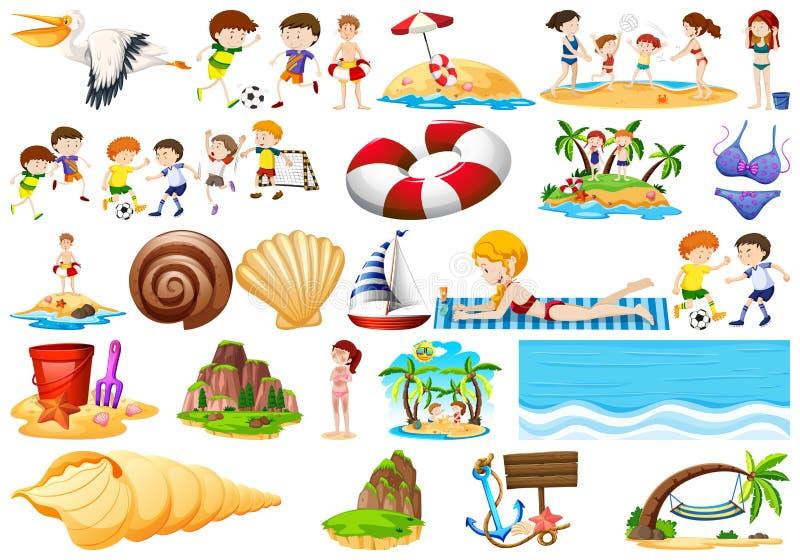 Elementos da areia e da praia ilustração royalty free