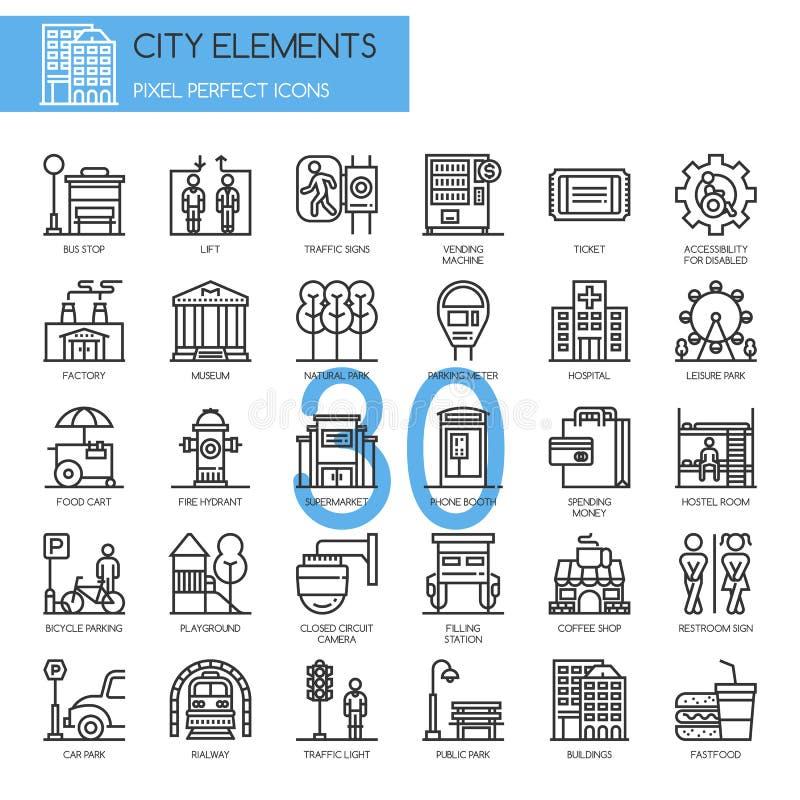 Elementos da cidade, linha fina ícones ajustados ilustração royalty free