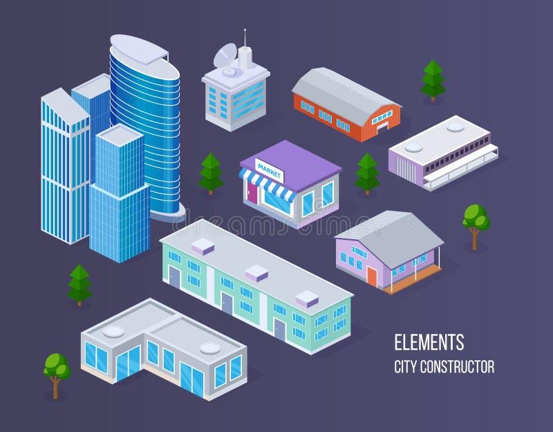 Elementos da cidade para criar próprios mapas da cidade ilustração do vetor