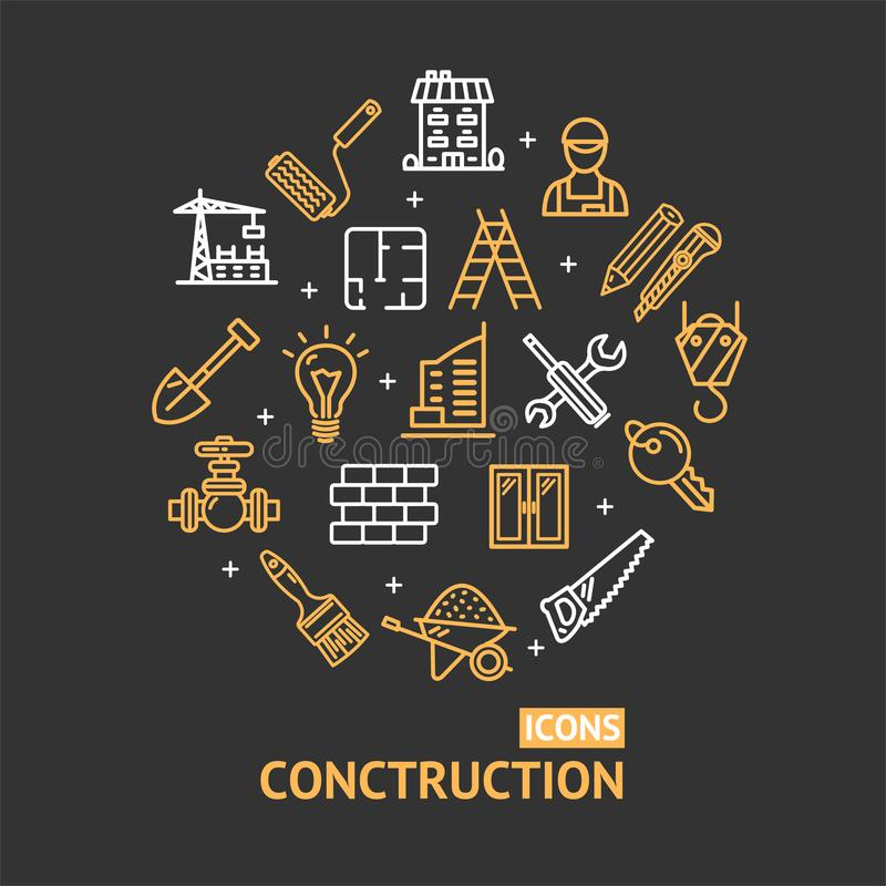 Elementos da construção civil e linha redonda conceito do molde do projeto da cor das ferramentas do ícone Vetor ilustração do vetor