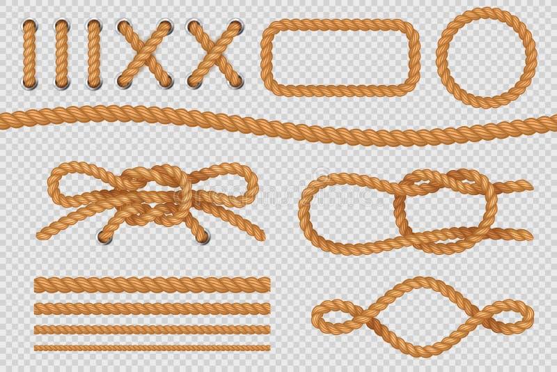 Elementos da corda Beiras marinhas do cabo, cordas náuticas com nó, laço de navigação velho Grupo do vetor ilustração do vetor