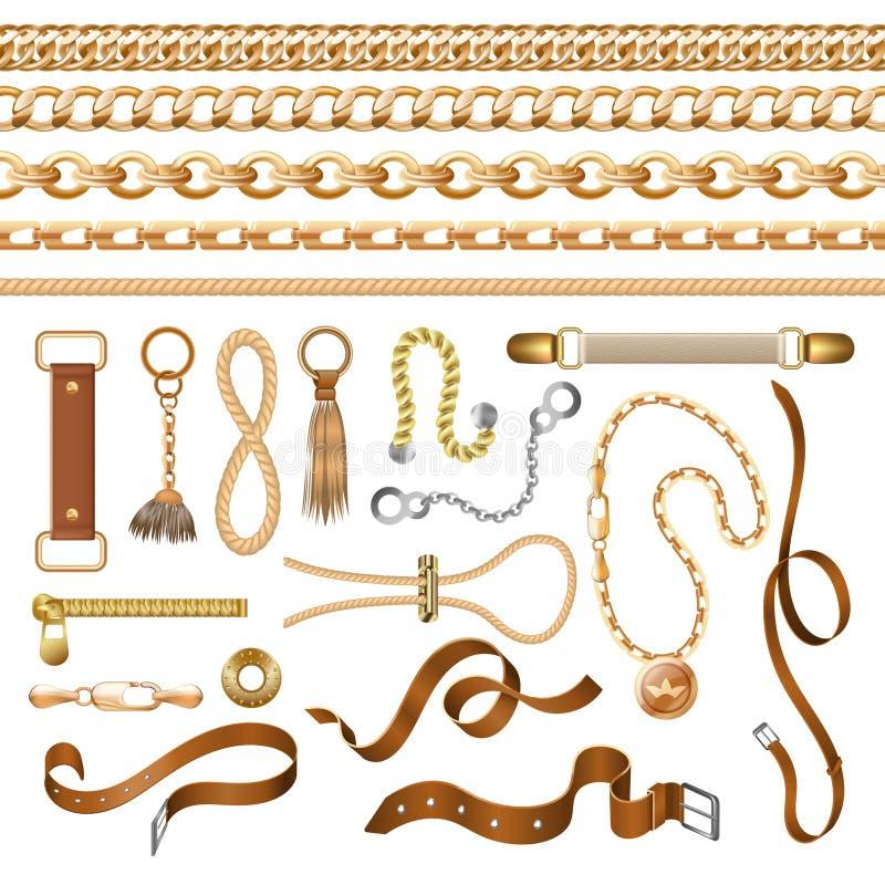 Elementos da corrente e da correia Correia de couro da trança dourada e mobília, elementos decorativos da forma Braceletes barroc ilustração royalty free