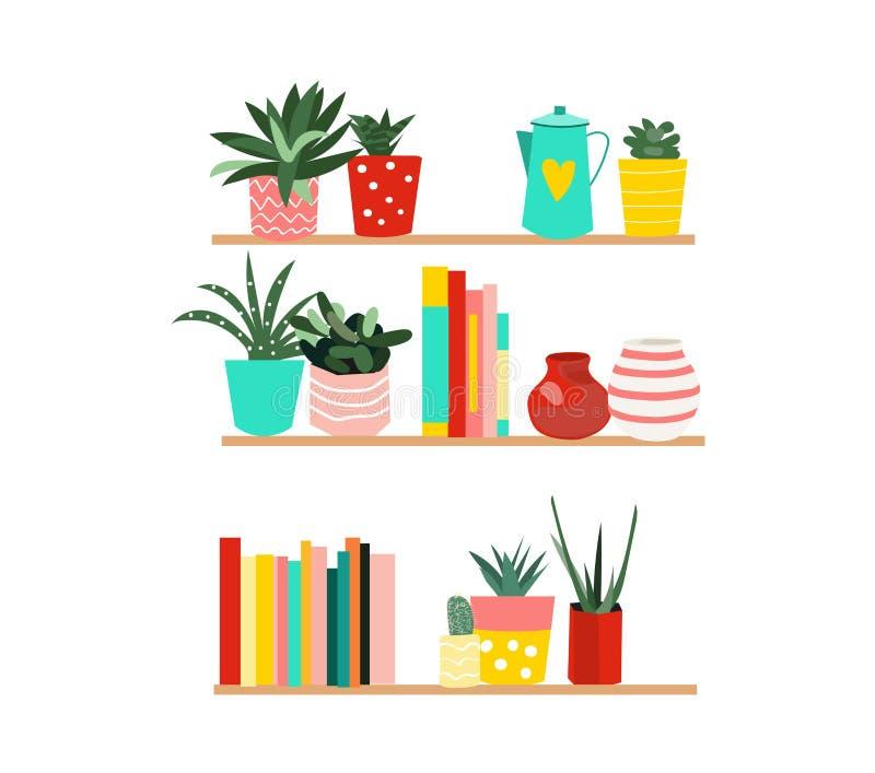 elementos da decoração da casa prateleiras coloridas com livros e plantas de potenciômetro no fundo branco ilustração do vetor