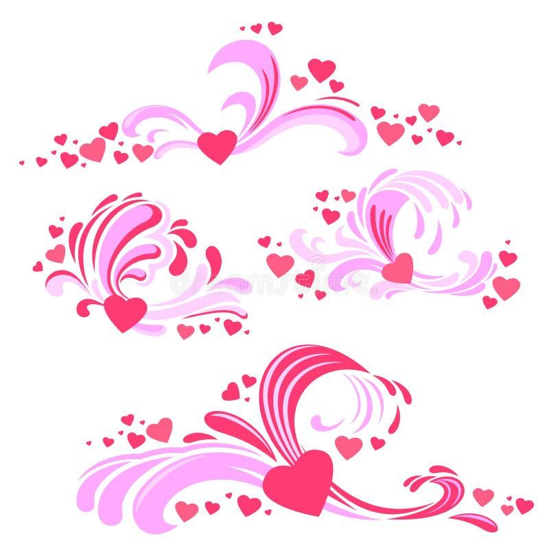 Elementos da decoração do dia do ` s do Valentim para seu projeto ilustração royalty free