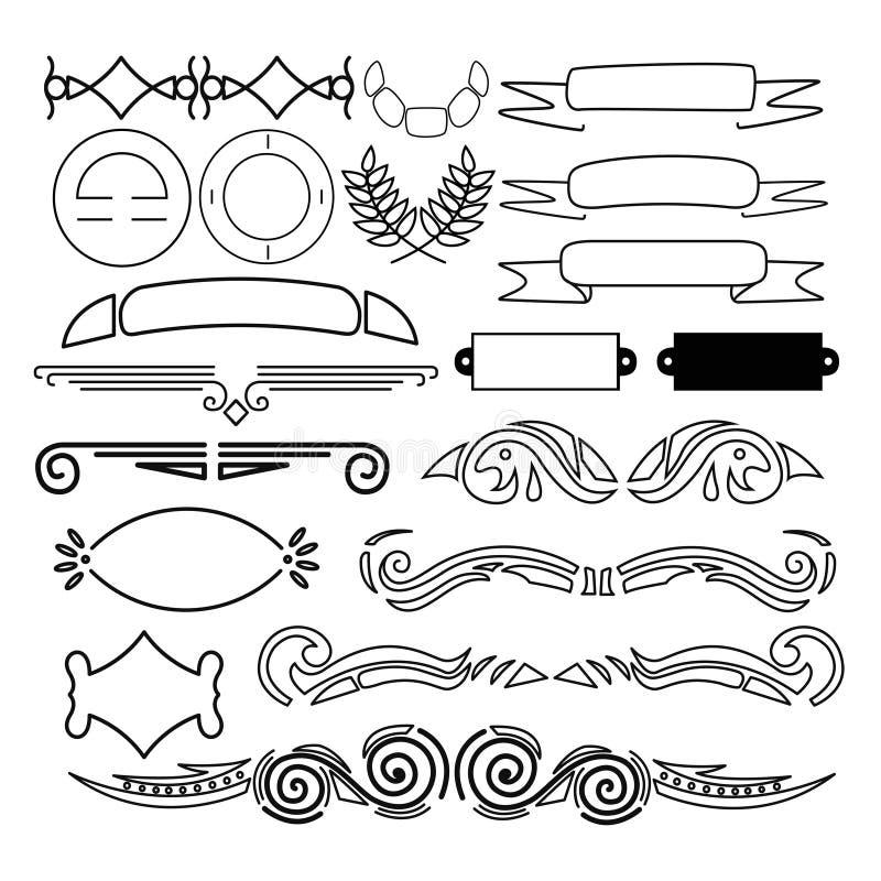Elementos da decoração isolados no fundo branco ilustração stock