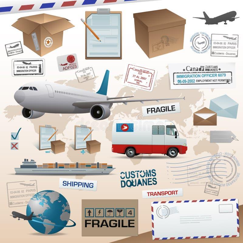 Elementos da distribuição e do transporte ilustração do vetor