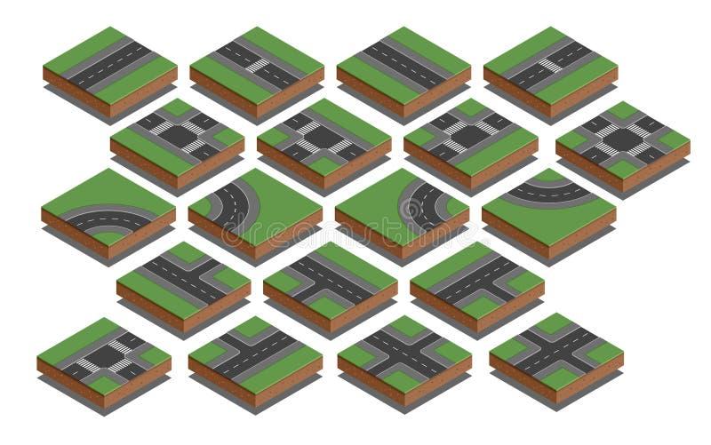 Elementos da estrada Jogo da criação do mapa da cidade Ilustração isométrica do vetor ilustração stock