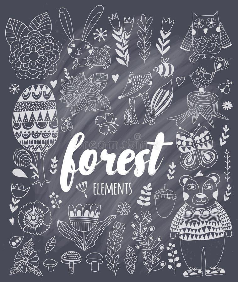 Elementos da floresta do vetor no estilo criançola da garatuja ilustração royalty free