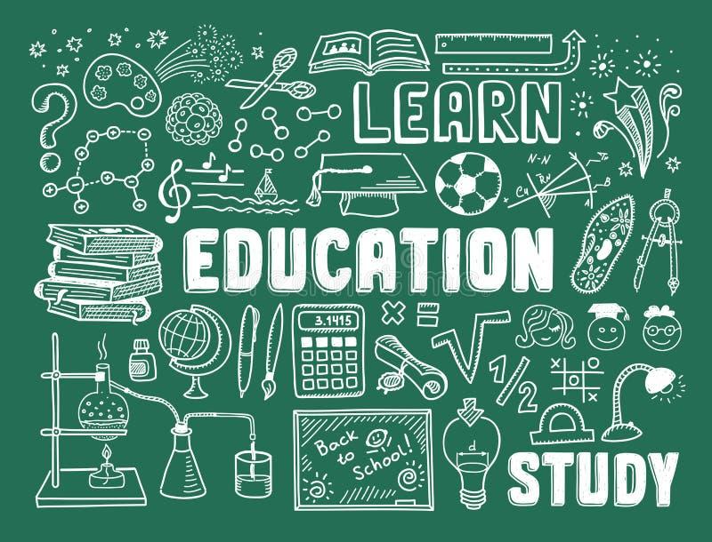 Elementos da garatuja da educação ilustração royalty free