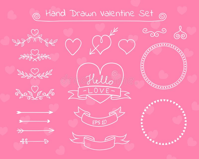 Elementos da garatuja de Valentine Day Coleção de elementos do projeto para cartões, convites, etc. Ilustração do vetor ilustração stock