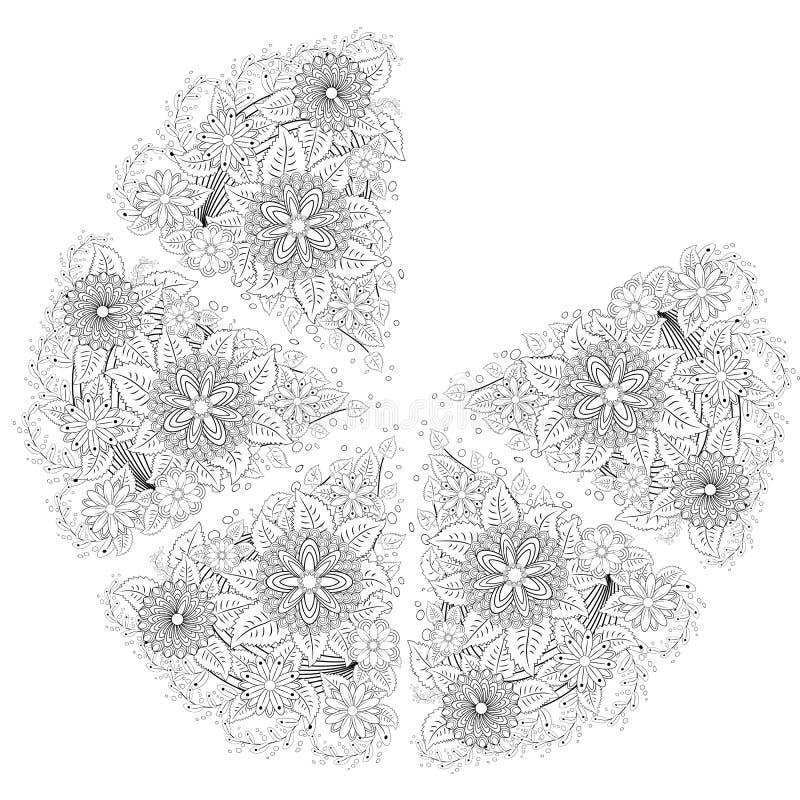 Elementos da garatuja da tatuagem da hena no fundo branco Elementos florais abstratos no estilo indiano Ornamento étnico, colorin ilustração stock