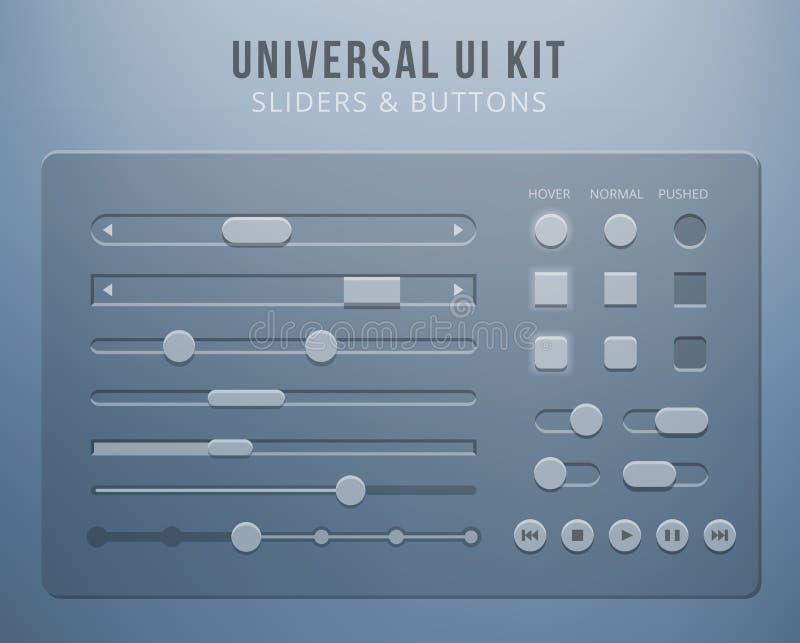 Elementos da interface de utilizador com transparência ilustração stock