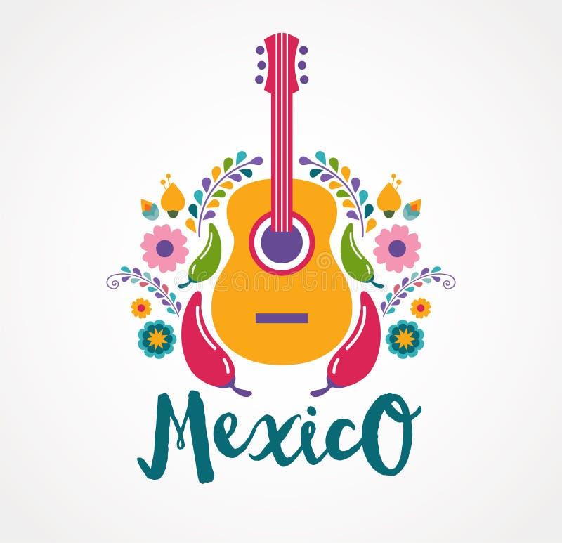 Elementos da música e do alimento de México ilustração royalty free