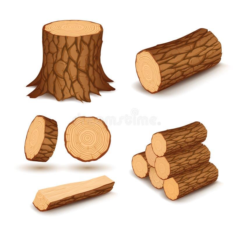Elementos da madeira do corte ilustração royalty free