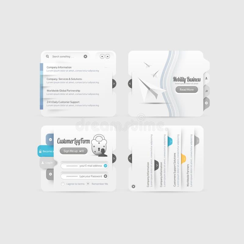 Elementos da navegação do menu do projeto do Web site do negócio com os ícones ajustados fotografia de stock