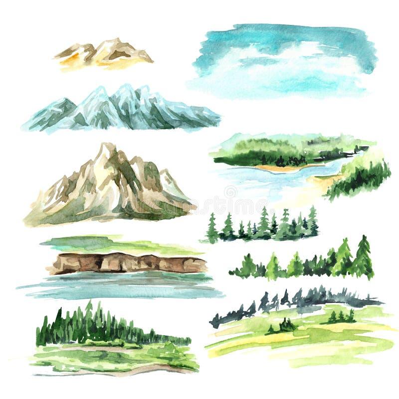 Elementos da paisagem com montanhas Ilustra??o tirada m?o da aquarela, isolada no fundo branco ilustração royalty free