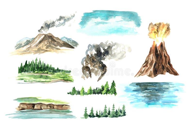 Elementos da paisagem com vulcão Ilustra??o tirada m?o da aquarela, isolada no fundo branco ilustração royalty free