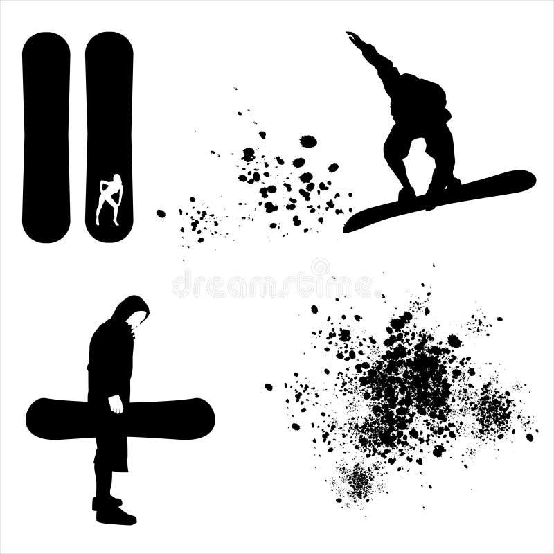 Elementos da snowboarding ilustração do vetor