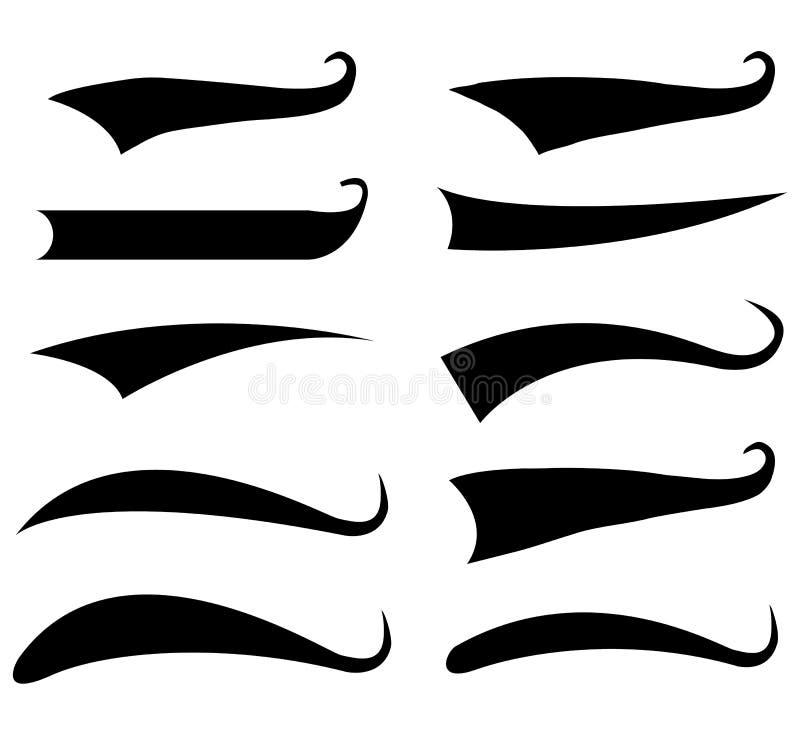 Elementos da tipografia da cauda do texto no fundo branco Estilo liso As caudas tipográficas do swash e dos swooshes assinam para ilustração do vetor