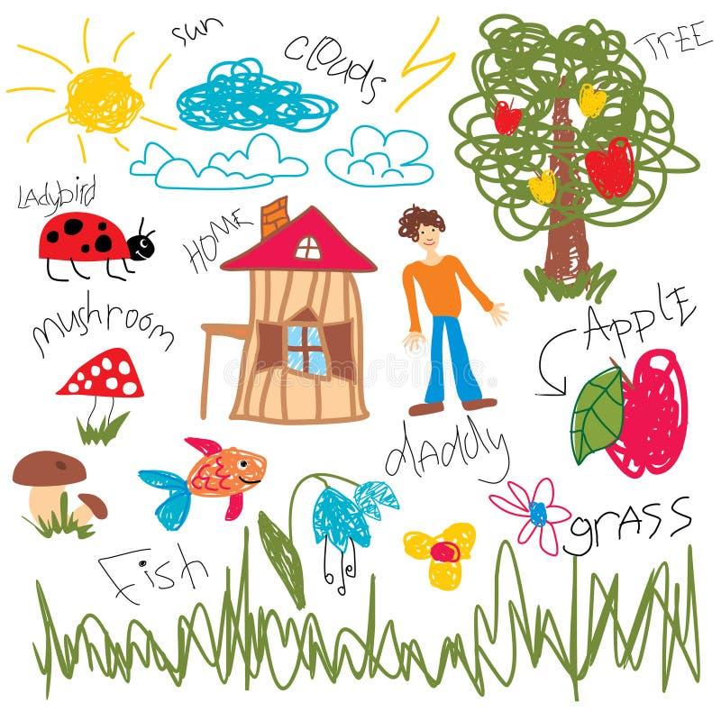 Elementos da tração da criança ilustração stock
