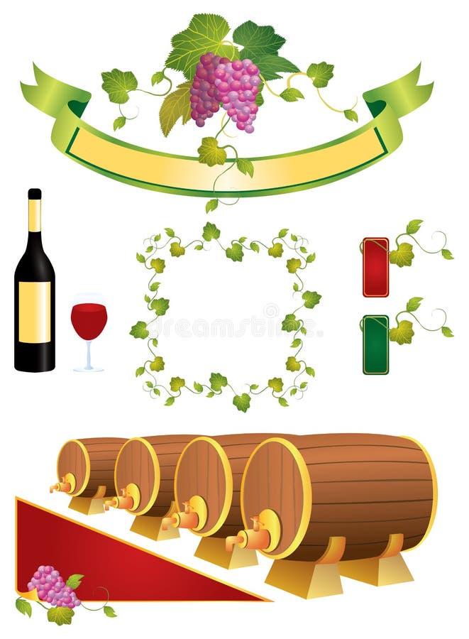 Elementos da videira ilustração do vetor