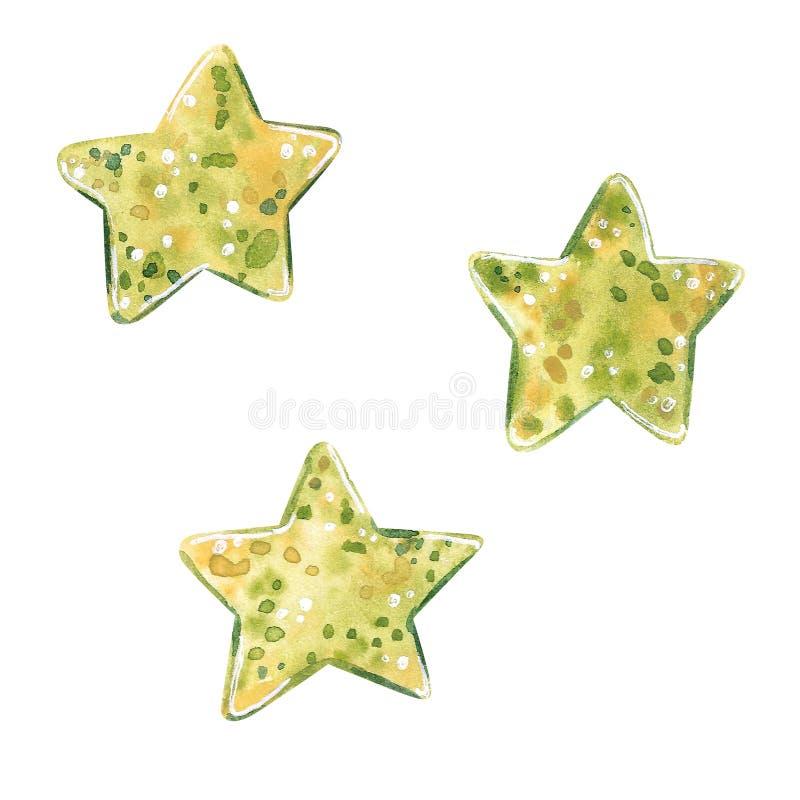 Elementos das estrelas da ilustração da aquarela na cor de verde azeitona ilustração stock