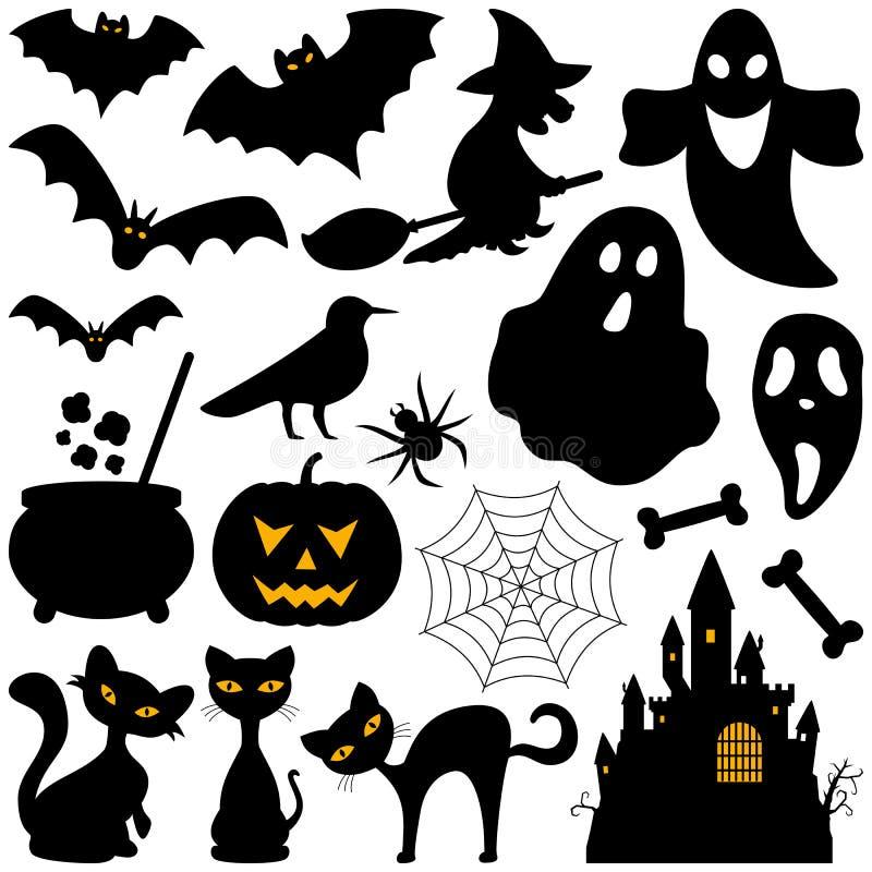 Elementos das silhuetas de Dia das Bruxas ilustração royalty free