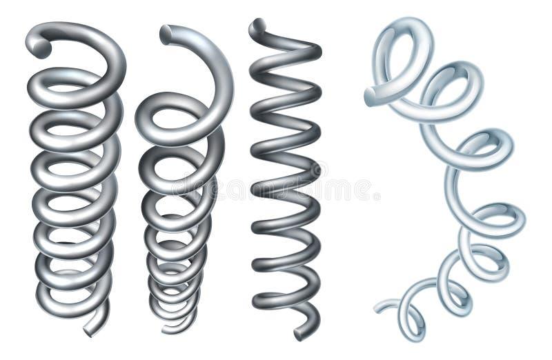 Elementos de aço do projeto da bobina da mola do metal ilustração stock