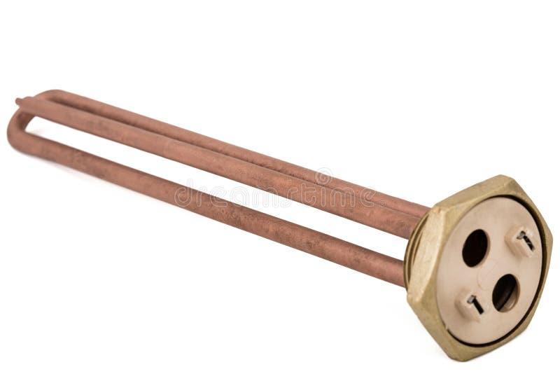 Elementos de aquecimento para a água de aquecimento em aquecedores de água domésticos, isolados no fundo branco imagem de stock