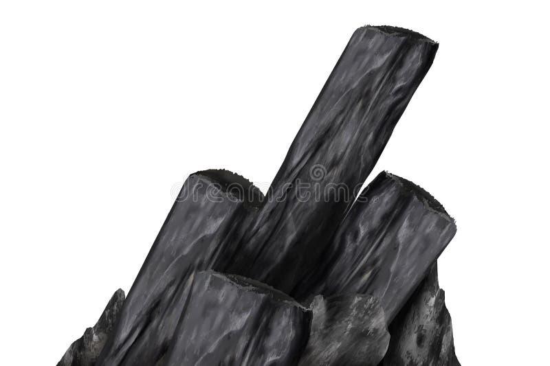 Elementos de bamb? del carb?n de le?a stock de ilustración