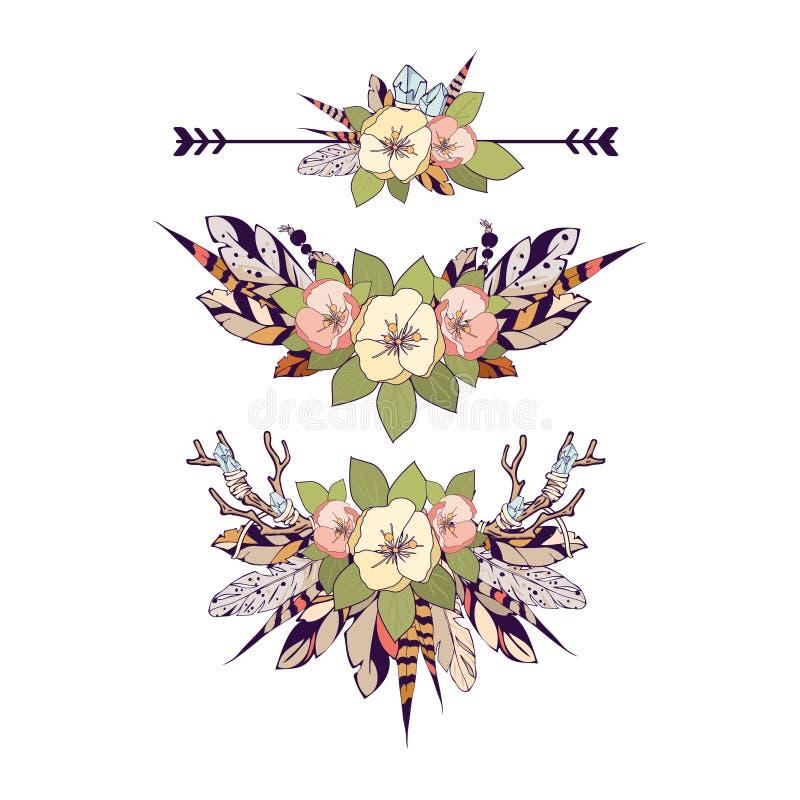 Elementos de Boho ilustración del vector