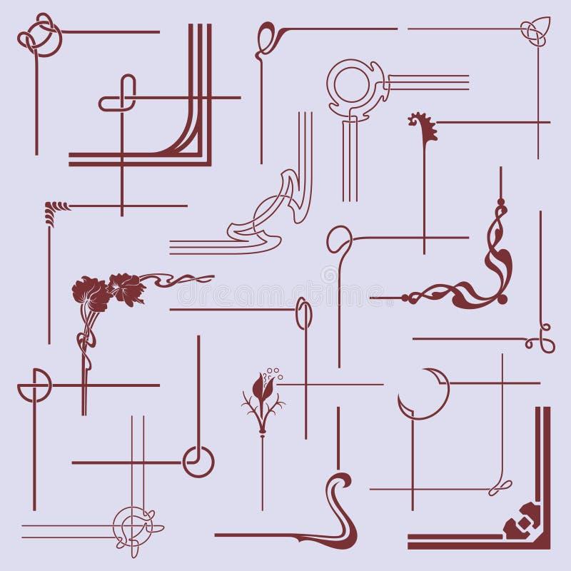 Elementos de canto de quadro ilustração stock