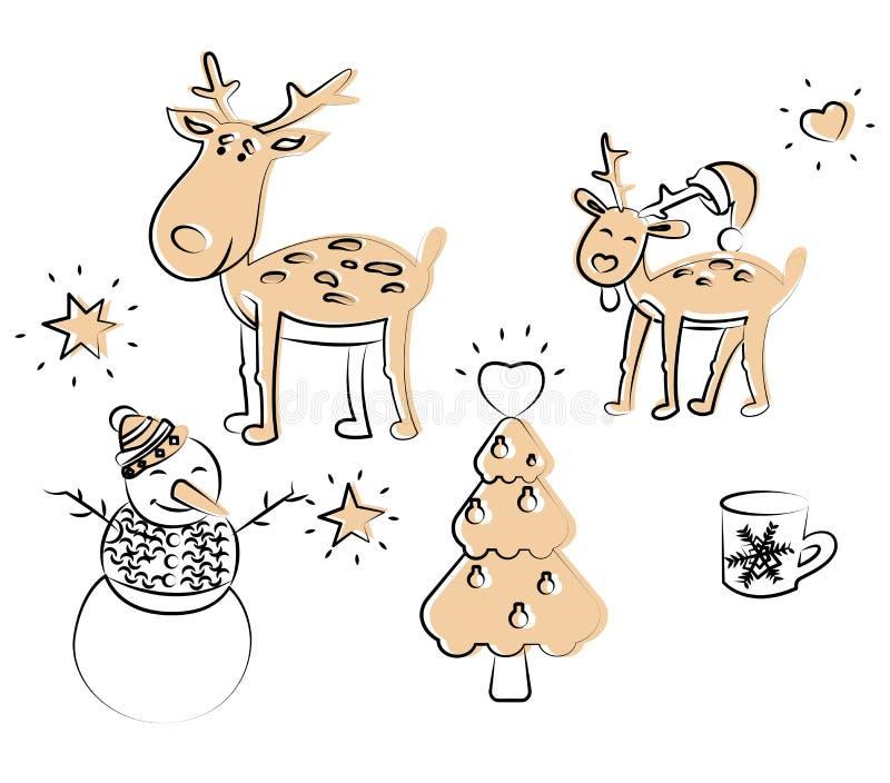 Elementos de coloração do Natal no vetor ilustração stock