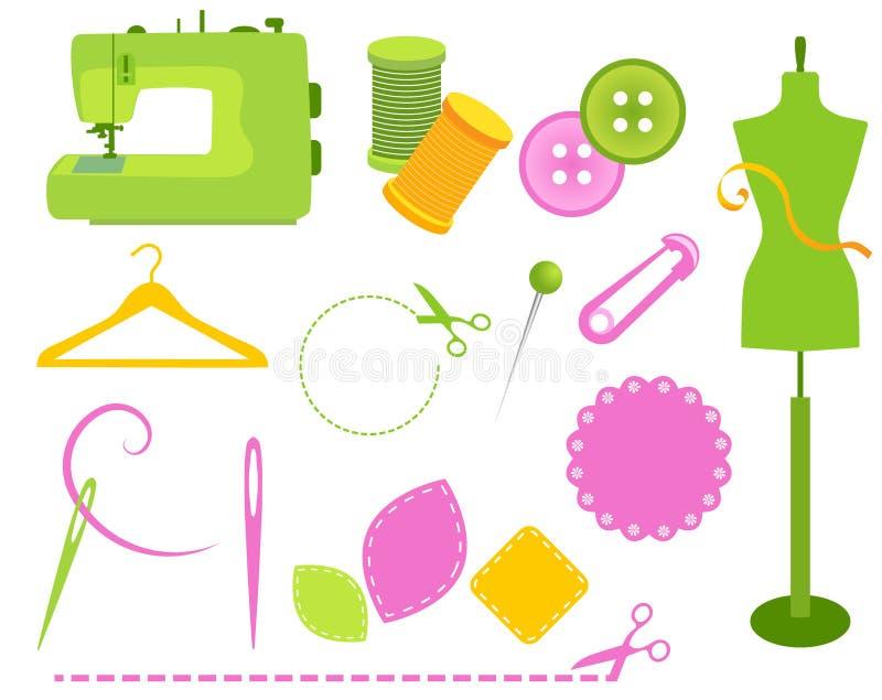 Elementos de costura stock de ilustración