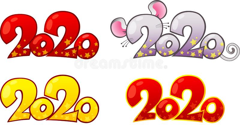 Elementos de design para 2020 Feliz Ano de Rato Metálico Novo ilustração do vetor