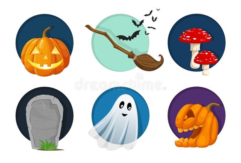 Elementos de Dia das Bruxas, objetos e grupo do ícone Ilustração bonito do vetor ilustração stock