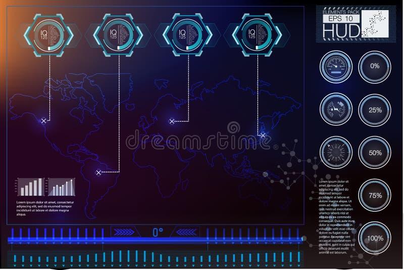Elementos de exposição da cabeça-acima para a Web e o app Fundo virtual da tecnologia Interface de utilizador futurista Projeto d ilustração royalty free