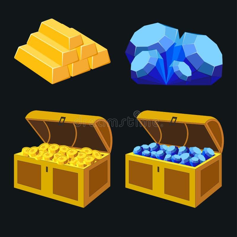 Elementos de imagem do tesouro, diamantes azuis, barras de ouro, moedas de ouro ilustração stock