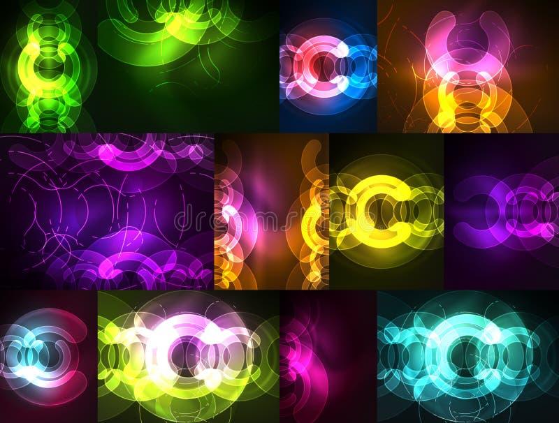 Elementos de incandescência redondos no espaço escuro, grupo abstrato do fundo ilustração do vetor