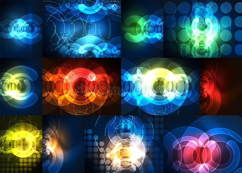 Elementos de incandescência redondos no espaço escuro, grupo abstrato do fundo ilustração royalty free