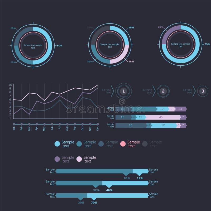 Elementos de Infographic - barra y línea cartas, infographics de la gente, diagramas, pasos/opciones, indicadores de progreso red ilustración del vector