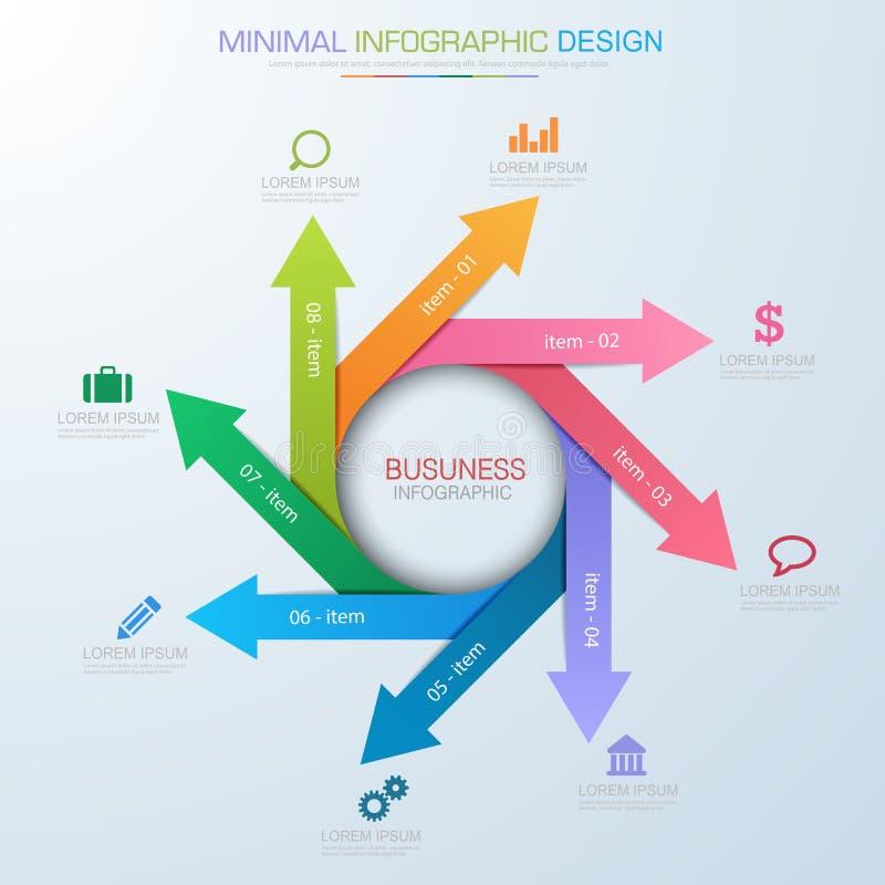 Elementos de Infographic com ícone do negócio no processo de fundo da cor completa ou nas etapas e nos diagramas dos trabalhos da ilustração do vetor