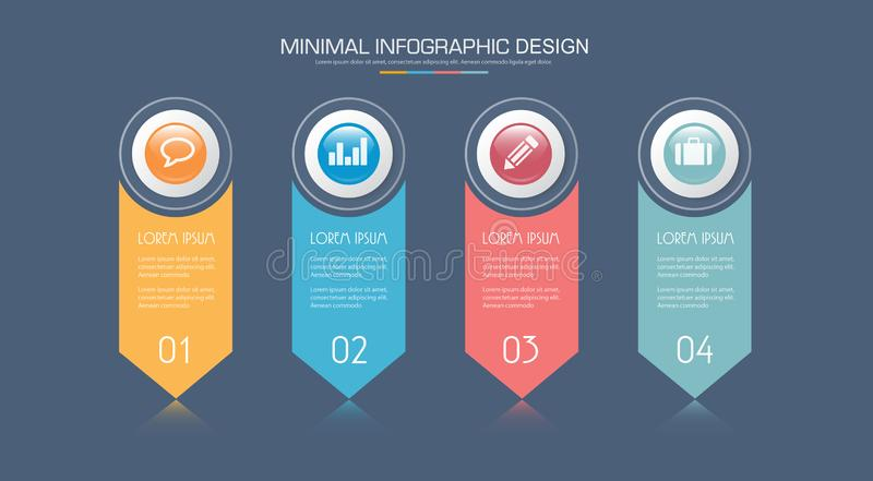 Elementos de Infographic con el icono del negocio en proceso del círculo del fondo o pasos y diagramas a todo color del flujo de  libre illustration