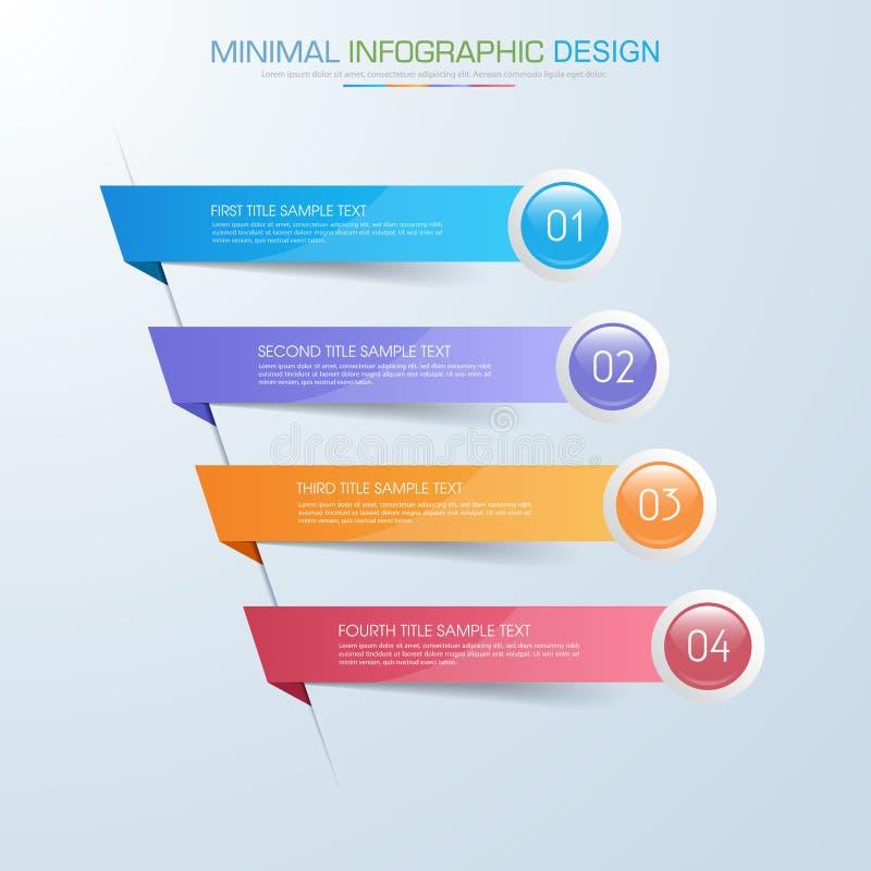Elementos de Infographic con el icono del negocio en proceso de fondo o pasos y diagramas a todo color del flujo de trabajo de la ilustración del vector