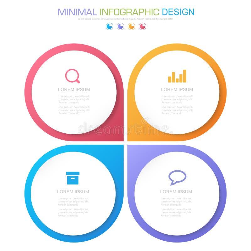 Elementos de Infographic con el icono del negocio en proceso de fondo o pasos y diagramas a todo color del flujo de trabajo de la libre illustration