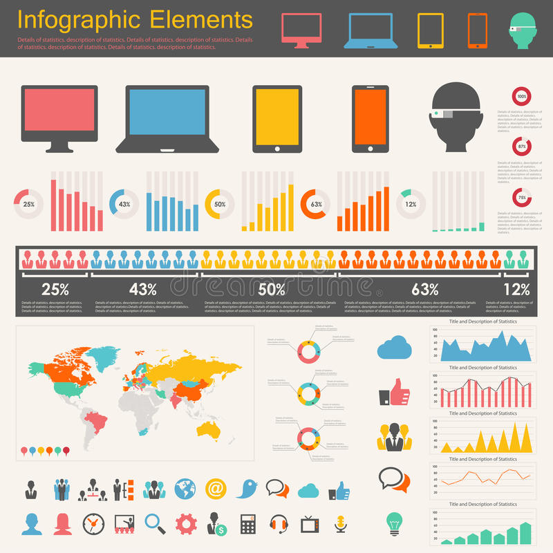 Elementos de Infographic da indústria das Tecnologias de Informação